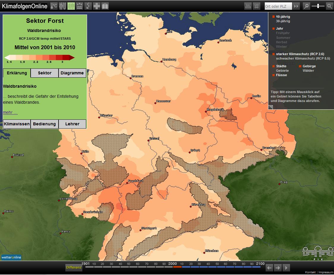 Screenshot KlimafolgenOnline-Bildung.de