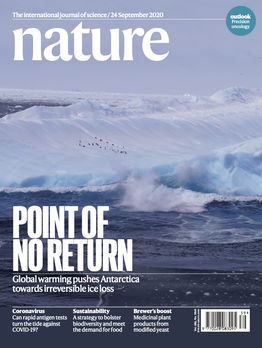 """2020/09/24: Paper """"The hysteresis of the Antarctic Ice Sheet"""" published today and on Nature front cover"""