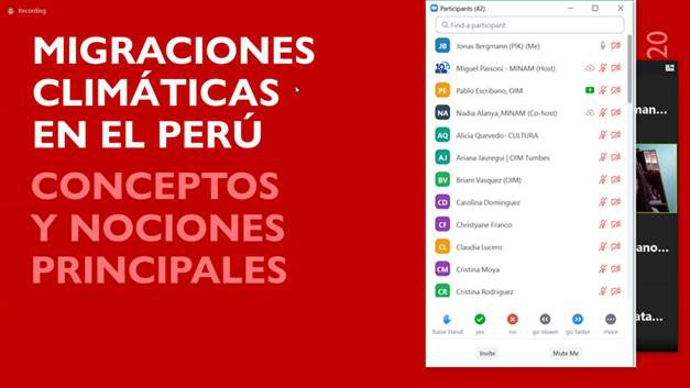Training webinar for staff of three Peruvian ministries on climate change and migration