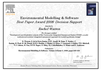 """Study on modelling climate policy received """"2008 Best Paper Award"""""""