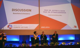 """""""The world in 2050"""": Mercator Climate Lecture with economists Sachs and Edenhofer"""